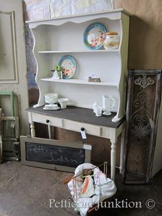 painted furniture, white hutch in the shop