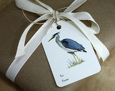 6 Heron Gift Tags, Set of 6, Great Blue Heron Print on Cream with Natural Jute Twine