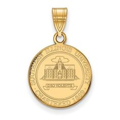 Sterling Silver w/ 14K Yellow Gold-Plated LogoArt Official Licensed Collegiate Southern Illinois University (SIU) Med Crest Pendant, Adult Unisex, Size: Medium
