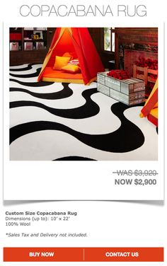 Copacabana Rug $2900 (Sales Tax and Delivery not Included)  Contact designer@marthaangus.com for more details!