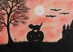 Halloween Card: Cat Pumpkin Card, Halloween Art Card, Kitten Pumpkin Bats Card £2.20