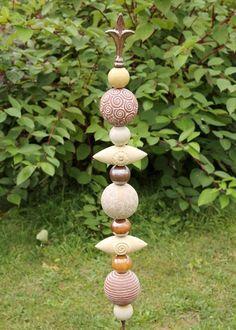 Gartenkugeln & -stelen - Gartenstele Stele Gartenkeramik - ein Designerstück von Britt-Keramik bei DaWanda