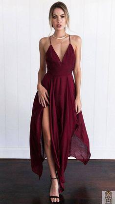 656e13039de A-line Deep V-neck Burgundy Chiffon Sweep Train Split-side Prom Dress
