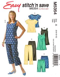 McCall's Sewing Pattern 5354 Misses Size Easy Top Tunic Shorts Capri Cropped Pants Tunic Dress Patterns, Tunic Pattern, Pants Pattern, Clothing Patterns, Clothing Ideas, Free Printable Sewing Patterns, Mccalls Sewing Patterns, Amy Butler Fabric, Sewing Blouses
