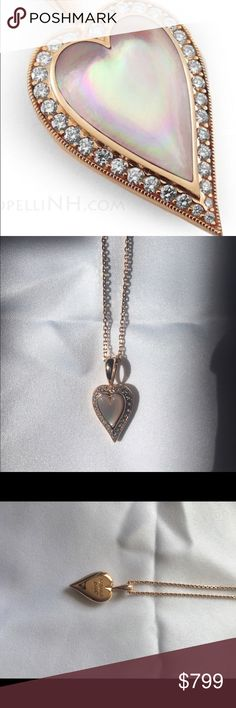 Rose Gold Kabana Heart Pendant with Pink Mother of Pearl and