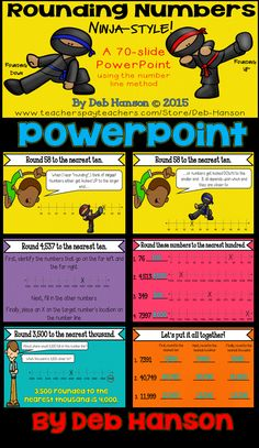 Rounding PowerPoint... to the tens, hundreds, and thousands! This PowerPoint uses the number line method to teach students how to round numbers. $
