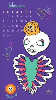 Free Skelly Chic wallpapers for your desktop & phone! Happy February! www.skellychic.com
