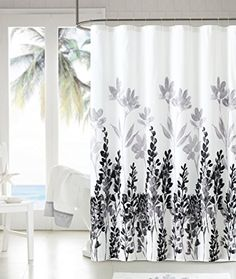 Luxury Home Mirage Shower Curtain Color Black White