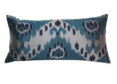 new teal ikat lumbar pillow | via rummage home