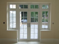 French windows at the rear door to veranda with paned window above n at the side to match the rest of the house windows French Doors With Screens, French Windows, French Doors Patio, Upvc French Doors, Georgian Windows, Georgian Doors, Internal French Doors, Double French Doors, House Windows