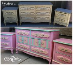Antique French Provincial Set Redesigned with Chalk Paint https://www.facebook.com/ImperfectlyPerfectRedesignedFurniture