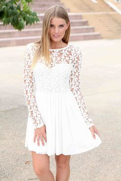 White Long Sleeve Dress with Lace Embroidered Bodice