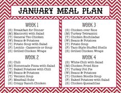 Sew Much Crafting: monthly meal plan