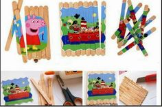 Lolly Stick Craft by krokotak Lolly Stick Craft, Craft Stick Crafts, Kids Crafts, Arts And Crafts, Puzzles For Toddlers, Activities For Kids, Puzzle Crafts, Pop Stick, Preschool Games