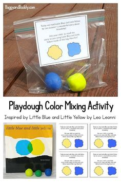 Explore color mixing with play dough! This sensory activity is inspired by the book Little Blue and Little Yellow by Leo Lionni. Comes with free printable take-home note for parents. #leolionni #kidlit #picturebooks #ece #preschool #playdough #colormixing #colortheory #kindergarten #buggyandbuddy
