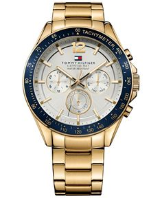 Tommy Hilfiger Men's Gold-Tone Stainless Steel Bracelet Watch 46mm 1791121