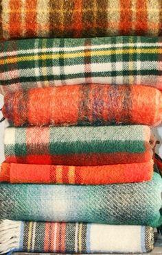 Plaid wool blankets in fall colors Textiles, Plaid Blanket, Blanket Coat, Plaid Scarf, Camping Blanket, Harris Tweed, Tartan Plaid, Fall Halloween, Halloween Fashion