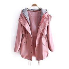 Pink Removable Hooded Long Sleeve Drawstring Trench Coat ❤ liked on Polyvore featuring outerwear, coats, long sleeve coat, red trench coat, drawstring trench coat, red trenchcoat and drawstring coat