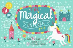Unicorn Clipart & Seamless Patterns by DillyPeach on @creativemarket