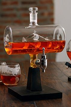 The Wine Savant Ship Decanter Drink Dispenser for Wine Whiskey Brandy Tequila Bourbon Scotch Rum and Liquor or Spirits 1000ml * Click image for more details.Note:It is affiliate link to Amazon.