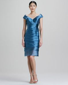 Tiered Satin Cocktail Dress by Carmen Marc Valvo at Bergdorf Goodman.