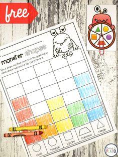 Monster Shape Graph Game! Fun way to practice 2D shapes in #preschool and #kindergarten.