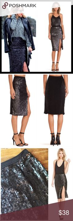joa // sequin side slit rebecca pencil skirt The holidays are right around the corner, so you're about to need this skirt every weekend. It's a black pencil skirt with sequins at front, zip/hook closures at side, mini skirt lining, and a slit at front. Wear it with a crop top and a structured crop blazer. It's a show stopper. Polyester. Color is black. Brand is JOA Los Angeles but sold by Nasty Gal. Nasty Gal Skirts Pencil