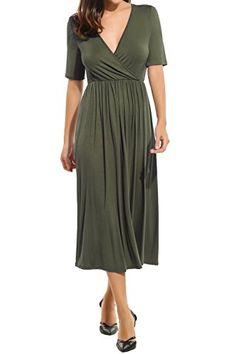 7496cef202 Meaneor Women s Sexy Deep V-Neck Wrap Jersey Pleated Cocktail Party Maxi  Dress Grey XL