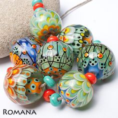 Romana Lampwork Beads 7 Turquoise Dreams | eBay