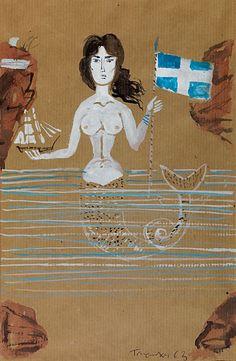 Artist Painting, Artist Art, Modern Art, Contemporary Art, Greek Paintings, Life Under The Sea, France Art, Tarot, Greek Art