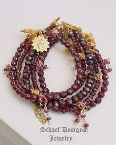 Gemstone stacking bracelets garnet & 22kt gold vermeil artisan handcrafted by Schaef Designs | Gwen Stefani inspired | Schaef Designs gemstone jewelry | online jewelry boutique | New Mexico | New Mexico