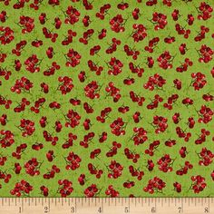 Noel Holly Berries Green from @fabricdotcom Designed by Whistler Studios for Windham, this cotton print fabric features colorful berries and is perfect for quilting, apparel and home decor accents. Colors include white, black, brown and shades of red and green.
