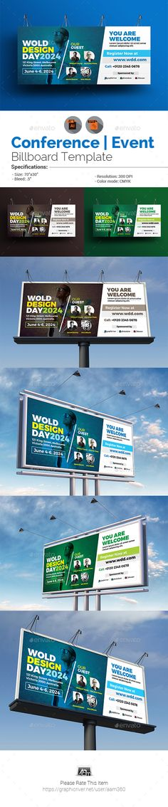 Conference #Billboard Template - #Signage Print Templates Download here: https://graphicriver.net/item/conference-billboard-template/20175353?ref=alena994