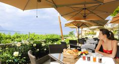 French Breakfast on the terrace - breathtaking view on the Alps and Lake Geneva Lake Geneva, Alps, Terrace, Restaurant, Patio, French, Table Decorations, Breakfast, Outdoor Decor