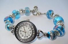european charm braclet watch,lampwork bead watch,troll bead,murano bead watch.