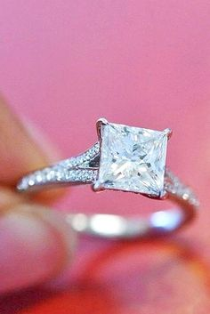 18 Breathtaking Princess Cut Engagement Rings ❤ See more: http://www.weddingforward.com/princess-cut-engagement-rings/ #wedding #engagement #rings