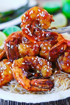 Shrimp teriyaki over rice noodles by JuliasAlbum.com, via Flickr