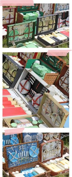 vintage picnic baskets and hampers with thermos flasks. I would love to find where this was held!!