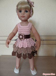 Barbie Crochet Gown, Crochet Barbie Clothes, American Girl Crochet, Crochet Girls, Gilet Crochet, Doll Clothes Patterns, Crochet Doll Dress, Crochet Toddler Dress, Crochet Dress Patterns