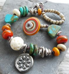 Indian Blanket Southwest Lampwork Bracelet Pumpkin Turquoise Persimmon and Vanilla Knotted with Sterling Nuggets
