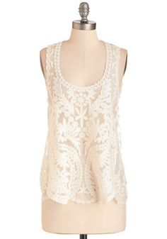 Make You Vine Top. The second you slip into this sheer, ivory tank, youre sure it must be fashionable fate! #cream #modcloth