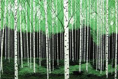 ONE DAY in the forest Original oil painting 24x36 MALORCKA landscape birch trees