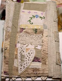 Love it! love using fabric in journals! Fabric Books, Fabric Journals, Fabric Art, Art Journals, Fabric Crafts, Collage Book, Book Art, Altered Books, Altered Art