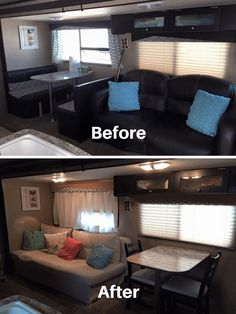 Owners Who Replaced Their Dining Booth Table and chairs to replace dining booth in RV Rv Trailers, Travel Trailers, Rv Travel, Travel Trailer Decor, Travel Trailer Remodel, Travel Items, Dining Booth, Booth Table, Dining Area
