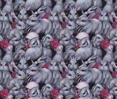 Danger Bunnies fabric by estrojenn on Spoonflower - custom fabric Stick On Wallpaper, Cool Wallpaper, Custom Fabric, Surface Design, Spoonflower, Cool Stuff, Random Stuff, Bunny Rabbits, Repeat