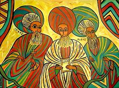 Three Saints A painted commission for an Ethiopian display and gift. Canvas is 24 x 18 inches and 100% handpainted acrylic. (It is a follow on from the Nine Saints)