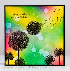 ...I played with my distress inks again & made a few more 'inky backgrounds' for these silhouette cards.. Make a wish.. Fairy du...