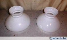 2 prachtige Witte porseleine Lampenkappen - Te koop