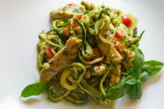 Paleo and Dirty Dishes!: Zoodles and Pesto