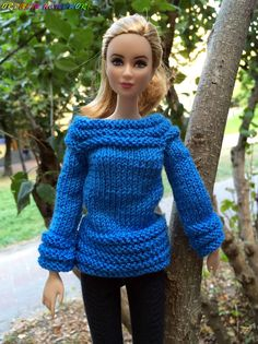 Handmade Barbie doll clothes. Knitted Blue от OrdaliaHandwork